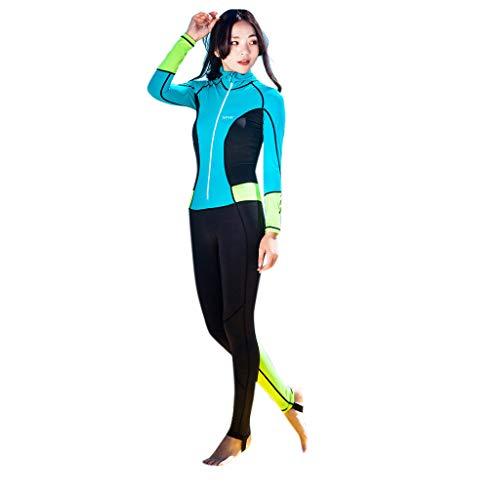 AIni Damen Neoprenanzug,0,5 mm Neopren Langarm Tauchen Neoprenanzug Speerfischen Anzug Bademode Wetsuit Schwimmen Surfanzug Surfen Tauchen Sport Badeanzug (L,Himmelblau)