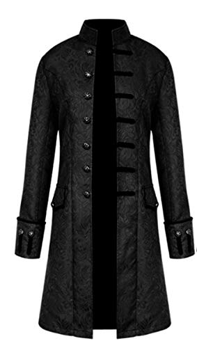 LCXYYY Herren Gothic Mittelalter Mantel Vintage Frack Jacke Gothic Victorian Kleid schwarz Steampunk Coat Uniform Kostüm Vampir Cosplay Verkleidung