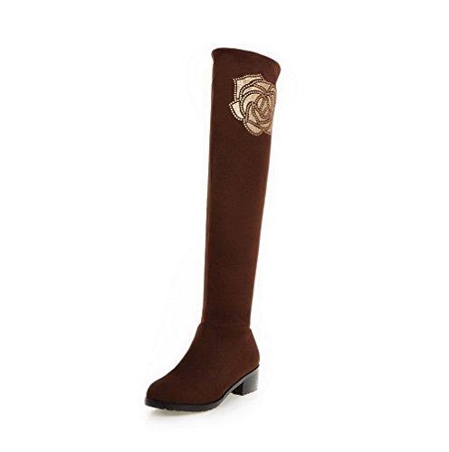 AgooLar Damen Mitte-Spitze Ziehen auf Mattglasbirne Rund Zehe Stiefel mit Beschlagene Strass, Weinrot, 40