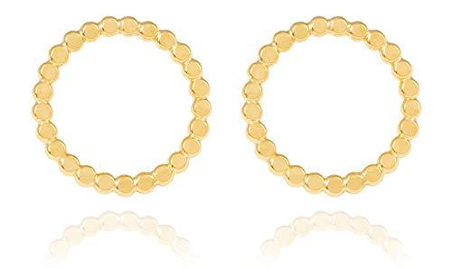 Charlotte Wooning Damen Ohrstecker Flat Pearl Gold runde Plättchen Gehämmert offenr Kreis Large Silber Vergoldet EFPLg
