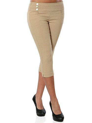 Damen Capri-Hose Sommerhose Kurze-Hosen Knielang No 15868, Farbe:Beige, Größe:XXL / 44