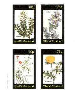 Staffa 1982 Flowers #39 (Veronica, Teucrium, Ipomcea & Argemone) imperf set of 4 values u/m FLOWERS JandRStamps