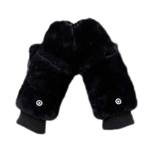 Da.Wa 1 Paar Frau Handschuhe Warm Futter Fäustlinge Mit Flip Cover Schwarz Flip Mitt