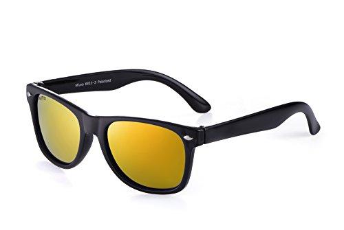 Miuno Kinder Sonnenbrille Polarisiert Polarized Wayfare Etui 6833 (Rotgoldverspiegelt)