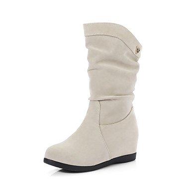 RTRY Donna stivali Comfort similpelle Autunno Inverno Abbigliamento Casual Comfort a piedi fibbia Tacco a cuneo mandorla nero 2A-2 3/4In US6 / EU36 / UK4 / CN36