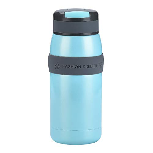 TENTA Kitchen Leak proof Vacuum Insulated Stainless Steel Water Bottle Tiny Potable Travel Coffee Mug Insulated Tumbler Cup With Silicone Sleeve For Children,Blue,220ML - 18/8(304) Stainless Steel - Leak-proof Insulated Travel Mug
