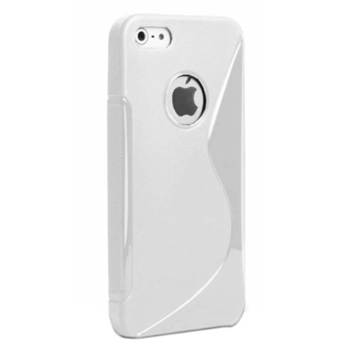 G4GADGET® Apple Iphone 5 5G 5S White Silicone Gel S Line Grip Case Cover For Apple Iphone 5 5G 5S