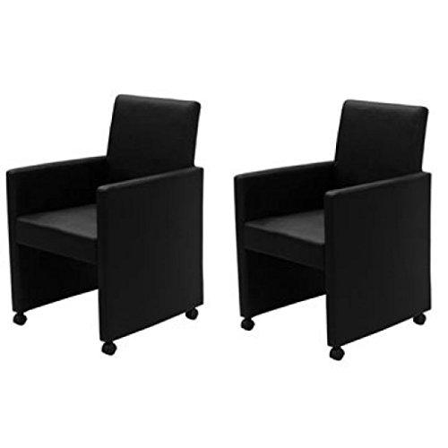 Festnight 2 Stücke Esszimmer Stühle Polstersessel Essstuhl auf Rädern Gepolstert Sessel Max. Belastung 120kg Schwarz