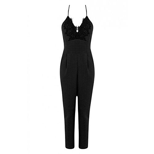 Fast Fashion Frauen Jumpsuit Spitzeordnung Design Plissierte Strappy Cami