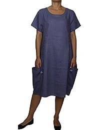 25062 dames femmes Robe en lin en forme de ballon manches courtes modele  longues bleu rose 22991663230