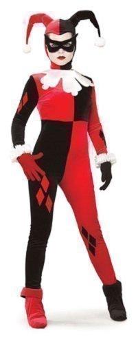 offiziell lizenziert Deluxe 5 Stück Damen Sexy Harley Quinn Overall Batman Bösewicht Halloween Kostüm Kleid Outfit - Rot/schwarz, Rot/schwarz, 12-14