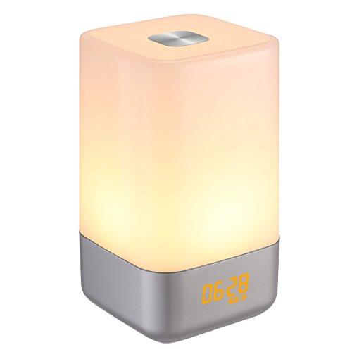 AMIR Wake Up Licht, Lichtwecker Sonnenaufgang Tageslichtwecker, 5 natürlicher Klang LED wecker mit licht, 256 RGB Farbe ändern Nachttischlampe mit Touch Control, 3-stufige Helligkeit wake-up light für Kinder usw