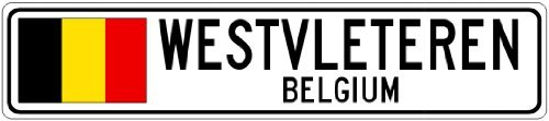custom-street-sign-westvleteren-belgium-belgium-flag-aluminum-city-sign-3x18inches