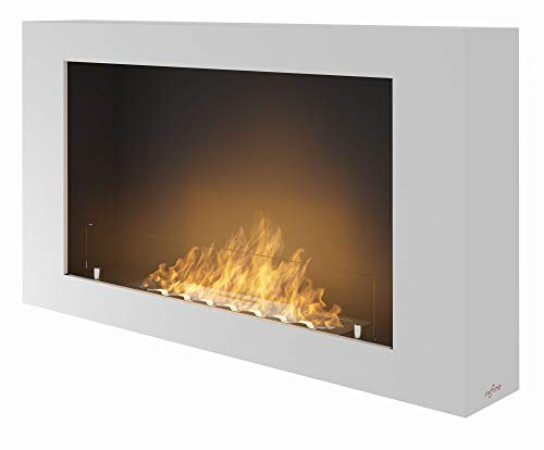 Biokamin Sined Fire Murall Weiss zum Aufhängen an der Wand Moderner Bioethanol Wandkamin aus pulverbeschichtetem Stahl mit Frontplatte aus gehärtetem und getöntem Glas Brennstoffbehälter 1 Liter