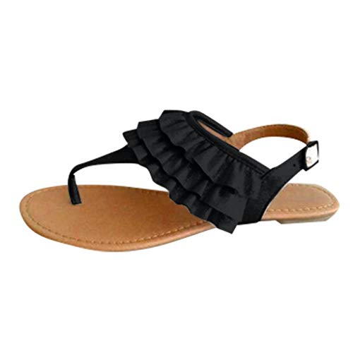 Tohole Sandalen Damen Sandalen BöHmische Zehentrenner Sommerschuhe Frauen Flach Outdoor Schuhe RöMersandalen Rüschen Bequemen Einfarbigen Strandschuhen Flachem(Schwarz,40 EU) -