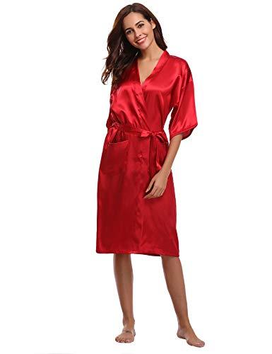 Aibrou Damen Satin Morgenmantel Kimono Lang Bademantel Schlafanzug Negligee Nachthemd Nachtwäsche Unterwäsche V Ausschnitt Mit Gürtel, Gr. XL, Farbe: Rot Rot Damen Mantel