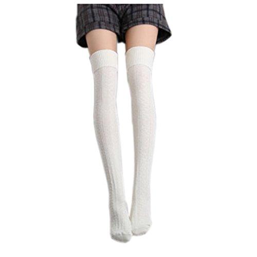 Cindeyar 1 Paar Damen Overknee Strümpfe Lange Kniestrümpfe Retro Schüler Überknie Strick Socken (Weiß)