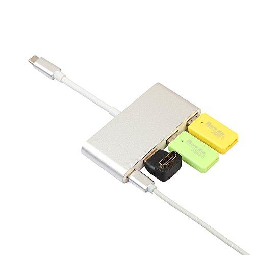 Huhuswwbin Lettore di schede, lettore schede con adattatore Hub USB multi-porta USB 3.1 Type con porta USB 3.0 per MacBook - Silver
