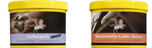 Preisvergleich Produktbild Lederseife 500 ml + Bienenwachs Lederpflege Balsam, 500 ml, incl. 4er Pack VARTA High Energie AA 1,5 V Batterien