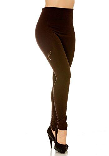 dmarkevous - Legging chocolat molletonné femme, côtelé et zip sur les côtés Marron