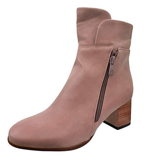 Damen Stiefeletten Blockabsatz Knöchel Winterstiefel Kurzschaft Stiefel Chelsea Boots Absatz Halbstiefel Elegant Party Booties Schuhe mit Reissverschluss (EU:41, Beige)