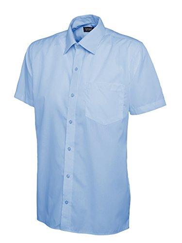 Herren Popeline Half Sleeve Shirt Casual Formale Business Arbeit Uniform Sicherheit UC710[schwarz] [2x l] Mittelblau