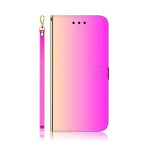 FNBK Kompatibel mit Huawei P30 Pro Hülle Nachahmung Spiegel PU Leder Brieftasche Case Kartensteckplatz Magnetschnalle Schlüsselband Cover Farbverlauf Rosa
