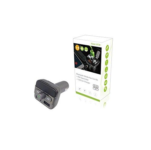 Transmisor de radio FM, yustar pantalla LED Kit de coche manos libres Bluetooth con cargador de coche USB Dual 2.1A/1A–Apoyo disco USB/tarjeta micro SD (gris)