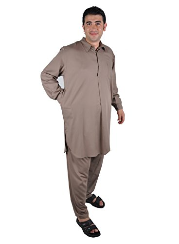 Zweiteiliges Herren-Salwar-Kameez- Set im Pakistani-Stil, Farbe: braun (64 (3XL)) (Salwar Braun Baumwolle)
