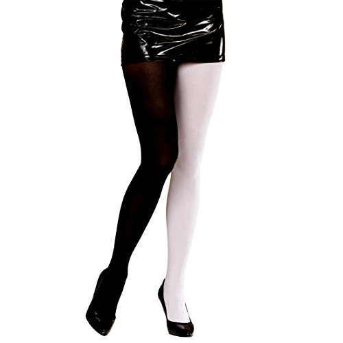 Blickdichte Strumpfhose Damenstrumpfhose schwarz-weiß Pantyhose Damenstrümpfe Nylon Damen Strümpfe Feinstrumpfhosen zweifarbig Strumpfhosen Damen - Damen Zweifarbige
