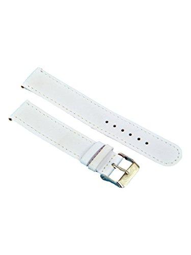 Uhrenarmband Leder Weiß Glatt mit Weißer Naht 12-18mm Armband Uhr Band 16mm