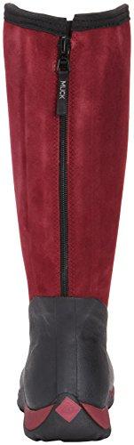 Muck Boots Arctic Adventure Zip Suede Damen Kniehohe Stiefel mit warmem Futter Black (Black/Maroon)
