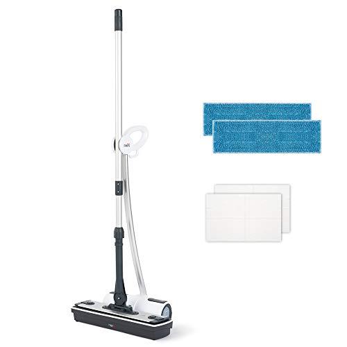 Moppy PTEU0281 Polti Dampfbodenwischer ohne Kabel, Cordless für Hartböden und vertikale waschbare Flächen, 0.7 L, 1500 W, weiß