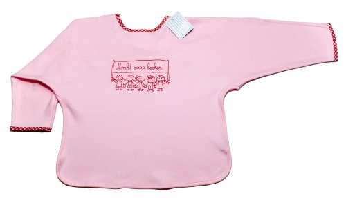 pink-baby-bib-for-girls-long-sleeve-100-cotton-cute-print-mmh-sooo-lecker-mmmh-soo-delicious-by-germ