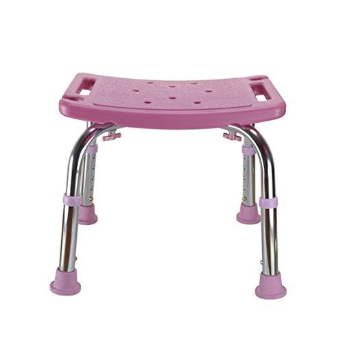 Rechteck-matte Stuhl (SjYsXm-duschhocker Rosa Aluminiumlegierung Dusche Hocker Badehocker Höhenverstellbar Bad Stuhl Alter Mann Rechteck Duschstuhl mit Anti-Rutsch-Matte (größe : Without backrest))