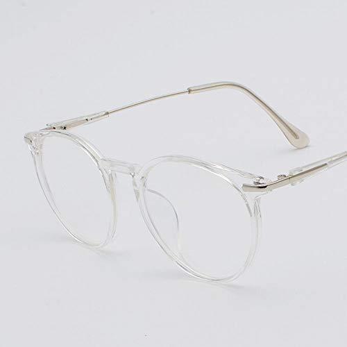 WEATLY Männer und Frauen Retro Gesicht Brille Großen Rahmen Flachen Spiegel Clear Lens Frame Glasses (Farbe : Clear)