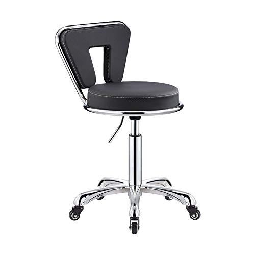 WZB Stuhl Everyday Home Modern Swivel High Friseurhocker PU-Leder Executive Home Office Verwendung (Farbe: Schwarz-1, Größe: 50cm) -
