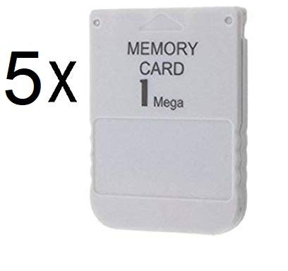 DARLINGTON & Sohns 5 Stück Speicherkarten für PS1 Playstation 1 Memory Cards 1 MB Memorycard Memory Card Speicher Karte passend für Sony Playstation 1 PS1 PSX