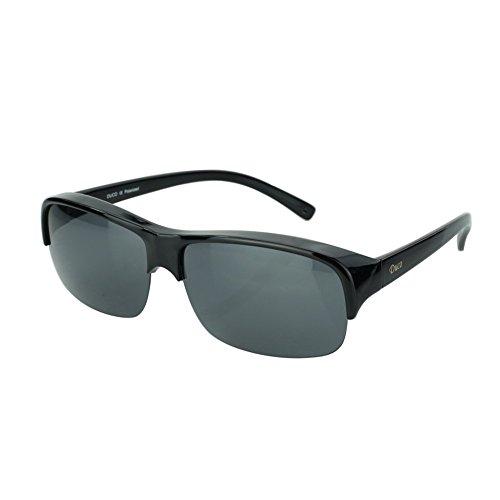 Duco occhiali da sole uomo e donna occhiali da vista polarizzati per occhiali da vista per occhiali da vista occhiali da polo fit-over, semi-rimless 8953t (nero-40)