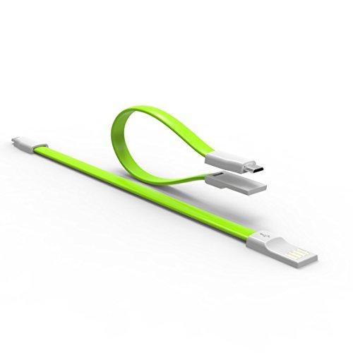 ULTRICS® Câble USB Micro court 22CM Premium Quality TPE FLAT USB2.0 Magnetic Foldable Un mâle à Micro B Chargeur mobile, un câble de synchronisation de données plus rapide pour Samsung, Google Nexus, Nokia, LG, PS4, XBOX