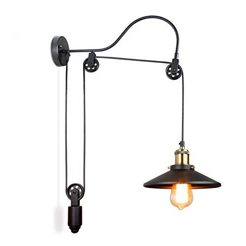 HYQJUNE Lampada da Parete E27 Lampada da Parete Creativa retrò Retro Industrial Wall Style Stile Loft Lampade di Sollevamento Pulsanti Corridoio Aisle