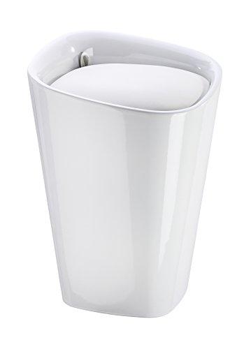 Wenko 21988100 Candy Badhocker mit abnehmbarem Wäschesack, Fassungsvermögen, 20 L, eckig, Kunststoff, 35 x 50 x 35 cm, weiß