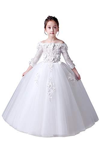 Misshow Festliches Kleid Mädchen Prinzessin Perle Blumenmädchenkleider Gr.80-160