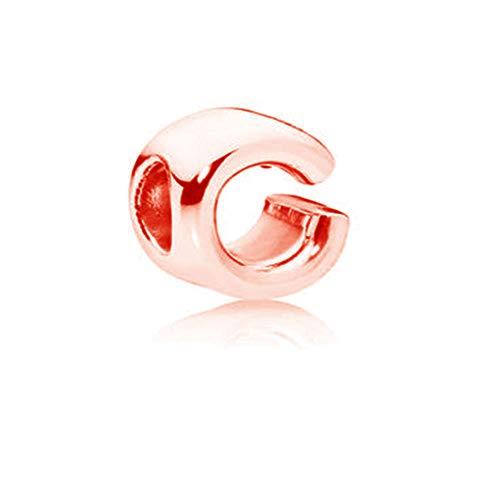 Charm-Anhänger mit Buchstabenbuchstabe Buchstabe W aus 925er Sterlingsilber, rotgoldene Perlen, passend für Pandora-Charm-Armbänder C