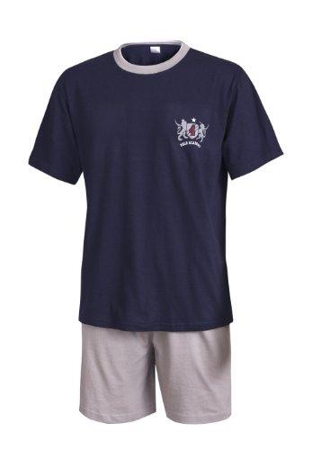 Schlafanzug Herren kurz Herren Pyjama kurz Herren Shorty Schlafanzug aus 100% Baumwolle (XXXL/62-64, Oberteil Marine mit Motivdruck/Hose grau)