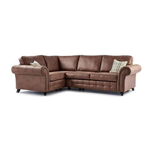 Honeypot- Sofa - Oakland - Faux Leather - 3 Seater - 2 Seater - Chair - Tan Suede - Cushions Included (Tan, Left Hand Corner)