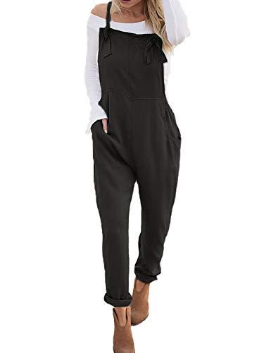 c5407835543 VONDA Women s Strappy Jumpsuits Overalls Casual Harem Wide Leg Dungarees  Rompers Adjustable Straps-Black S
