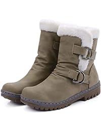 Stivali da Donna Stivali da Neve Invernali Cinturini con Fibbia Scarpe  Calde in Gomma con Punta 04dceadb455