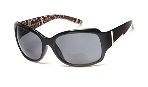 +1.75 Sonnen Lesebrille Schwarz Äußeres Tierdruck Innen Sonnenbrille Bifokal 100% UV-Schutz Getönte Gläser Damen Zeitlos + Fall