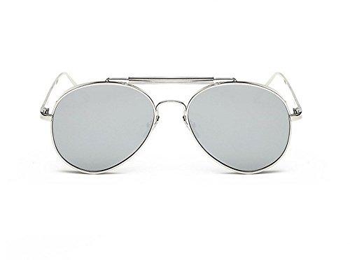 JUNHONGZHANG Trend Liebhaber Sonnenbrille Metall Kröte Pilot Sonnenbrille Dicken Rand Großer Rahmen Gläser Für Männer Und Frauen, Silber Gerahmt Quecksilber